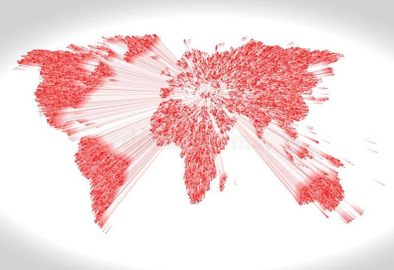 Skurkroll pressad ut röd världskarta som består av punkter royaltyfri illustrationer