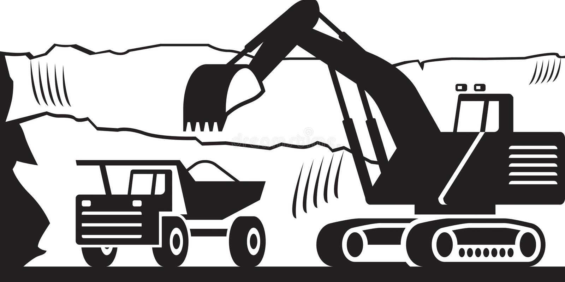 Skurkroll som bryter maskineri i öppen grop stock illustrationer
