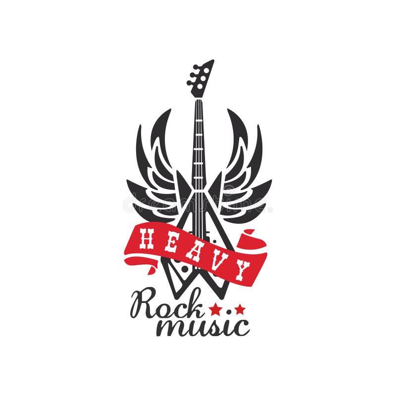 Skurkrollen vaggar musiklogo, emblemet för rockband, festival, gitarrpartiet eller vektorillustrationen för musikalisk kapacitet  vektor illustrationer