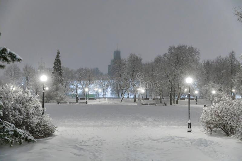 Skurkrollsnowfall i Moscow Nattsikten av parkerar och avenyer under ett snöfall Kollaps av offentlig service arkivfoto