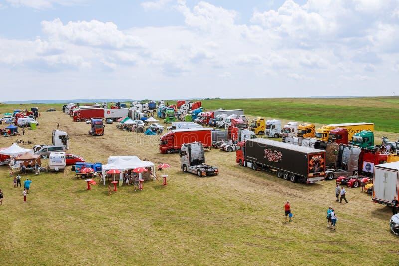 Skutech, Czech Republic, 27 June 2020: Drivers help children. Transport festival in the Czech Republic. Truck Show royalty free stock photos