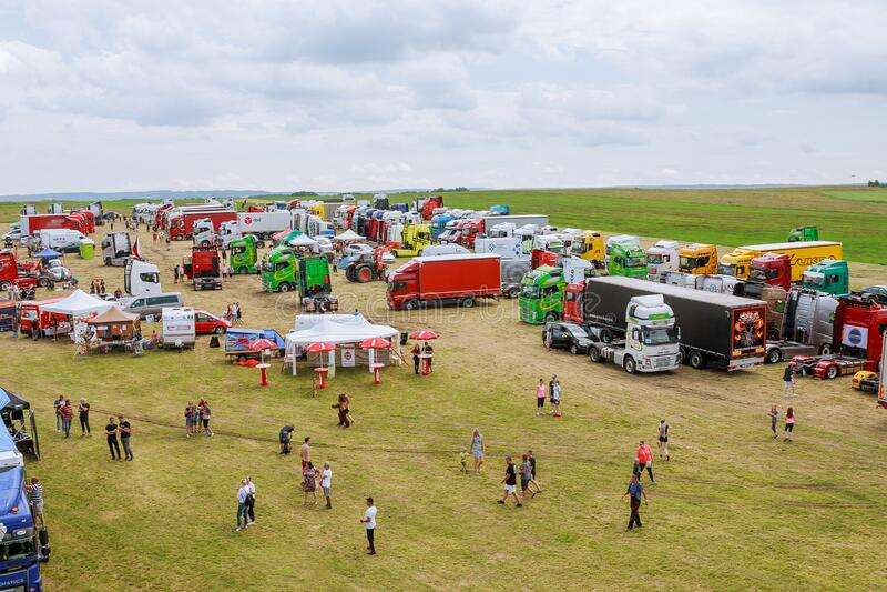 Skutech, Czech Republic, 27 June 2020: Drivers help children. Transport festival in the Czech Republic. Truck Show stock images
