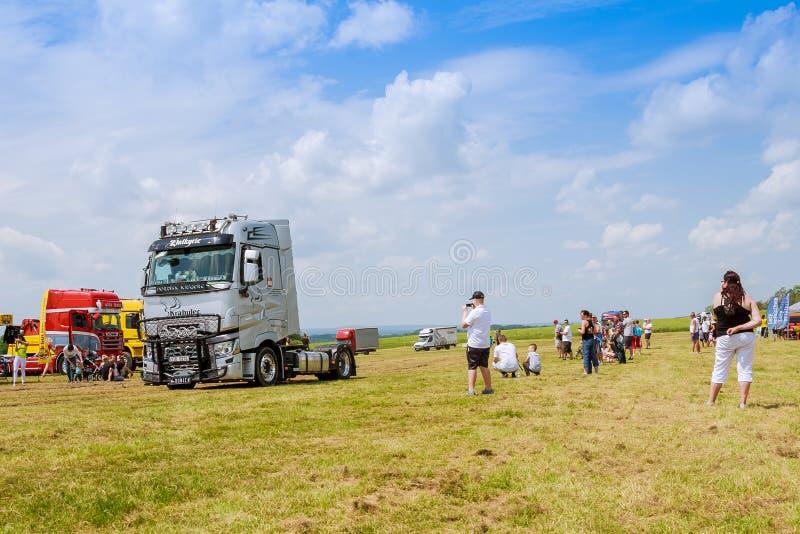 Skutech, Czech Republic, 26 June 2020: Drivers help children. Transport festival in the Czech Republic. Truck Show stock photography