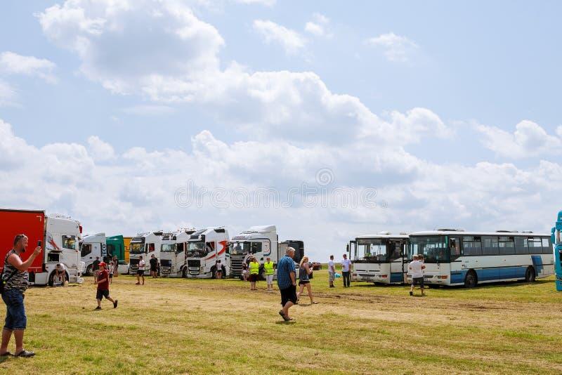 Skutech, Czech Republic, 26 June 2020: Drivers help children. Transport festival in the Czech Republic. Truck Show royalty free stock photography