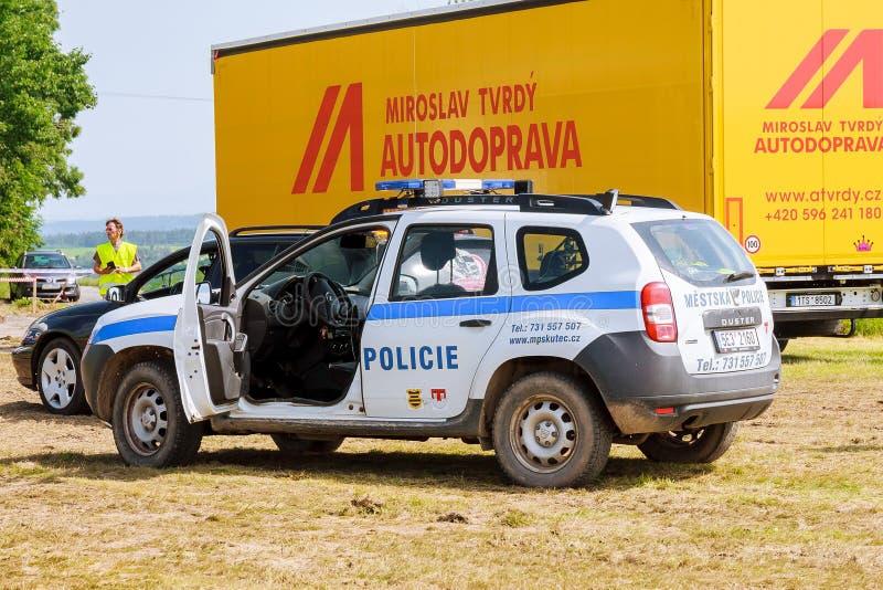 Skutech, Czech Republic, 27 June 2020: Police car. Drivers help children. Transport festival in the Czech Republic stock photography