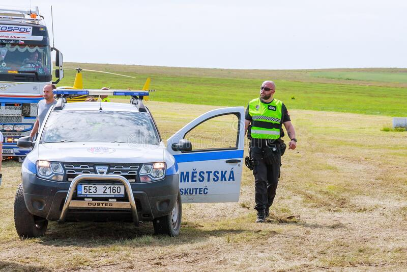 Skutech, Czech Republic, 27 June 2020: Police car. Drivers help children. Transport festival in the Czech Republic royalty free stock photos