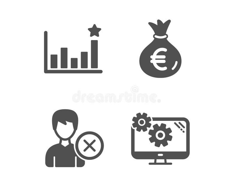 Skuteczność, pieniądze torba i Usuwa obrachunkowe ikony Po?o?enie znak Biznesowa mapa, Euro waluta, deleatur użytkownik wektor ilustracja wektor