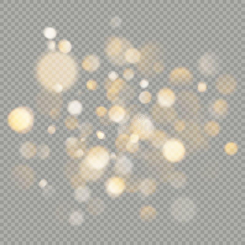 Skutek bokeh okręgi odizolowywający na przejrzystym tle Bożenarodzeniowy rozjarzony ciepły pomarańczowy błyskotliwość element któ ilustracja wektor