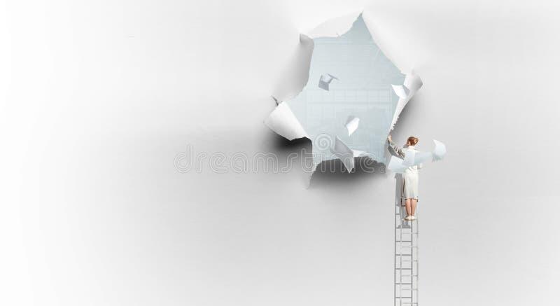 Skutek poszarpana papierowa dziura obrazy stock