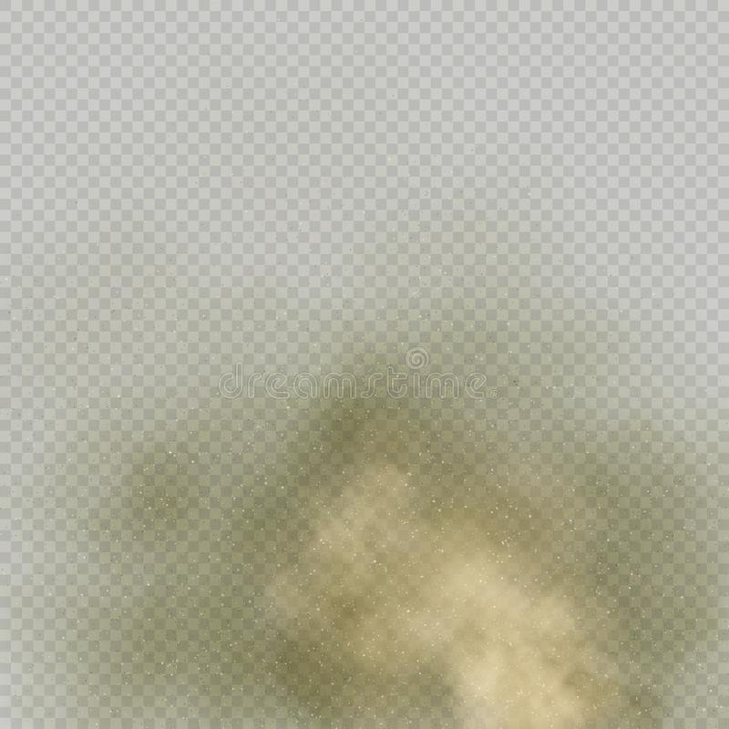 Skutka proszek na przejrzystym tle lub Suchej ziemi wybuch Brown dymu cząsteczka exhale w powietrzu 10 eps ilustracja wektor