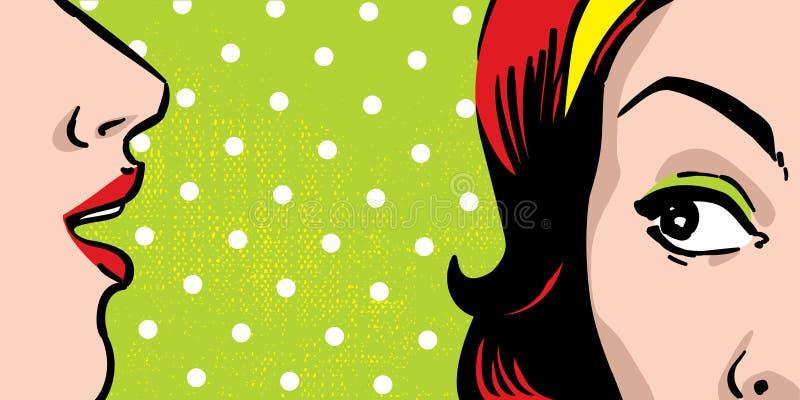 skvallra kvinnor royaltyfri illustrationer