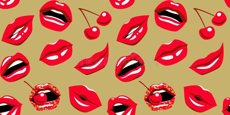 Skvallra med kyssen, leende, tänder och körsbäret Pop-konst röda kanter med den röda körsbäret på sömlös modell för guld- bakgrun vektor illustrationer