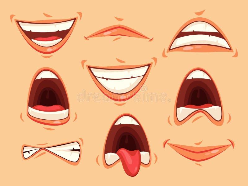 Skvallra sinnesrörelser av att le och ilsket, skri royaltyfri illustrationer