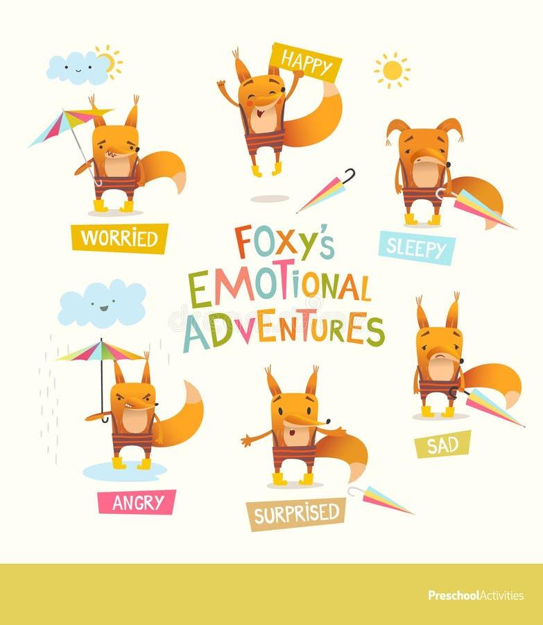 Skwaśniałe s emocjonalne przygody Śliczny kreskówka lis w lampasie dyszy wyrażający różnych uczucia Obchodzić się pozytyw i ilustracji