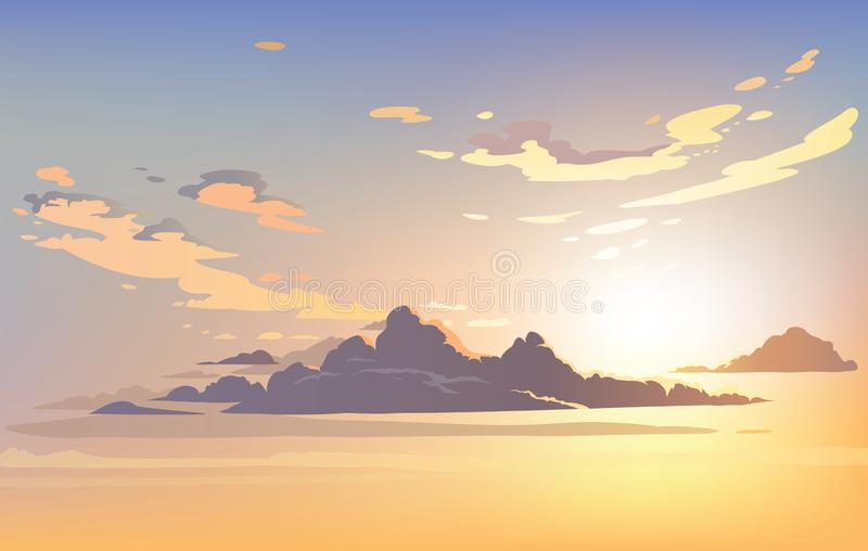 Vector landscape sky clouds. Plane in the sky. royalty free illustration