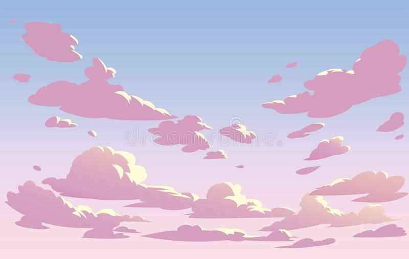 Vector landscape sky clouds. Pink sky vector illustration