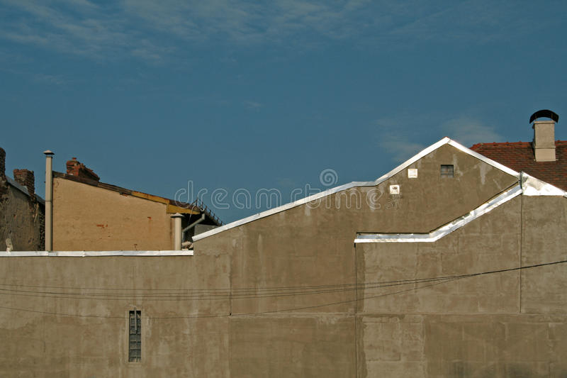 Sky above buildings. Clean sky above the city buildings in a small town royalty free stock photography