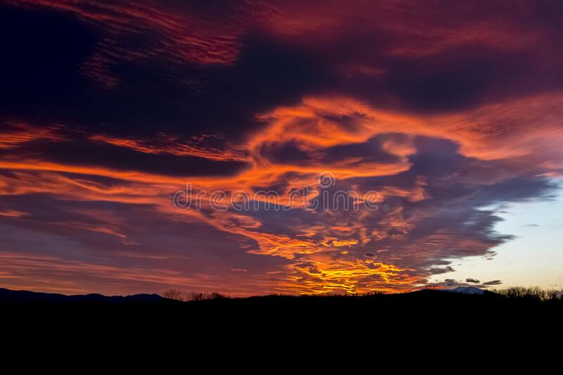 Sky, Afterglow, Red Sky At Morning, Cloud stock image