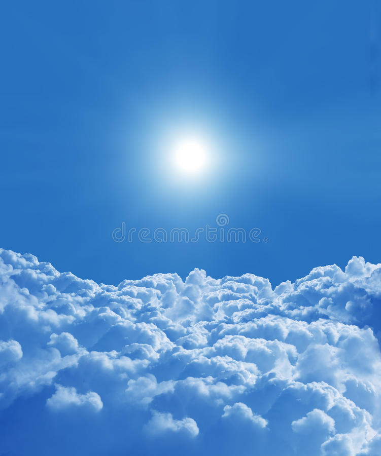 Sky background. With sun and beautiful clouds royalty free stock image