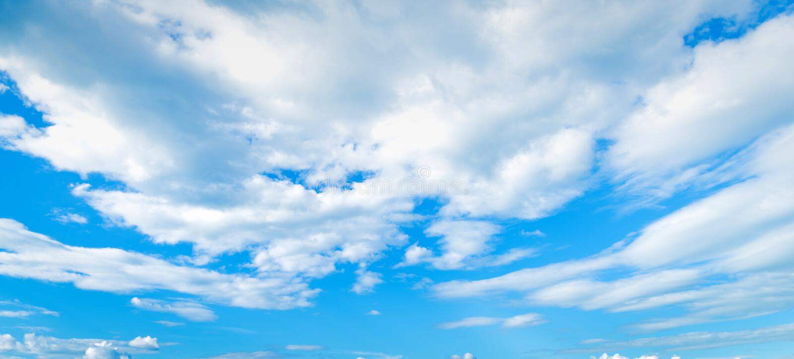 Sky background with big clouds stock photography
