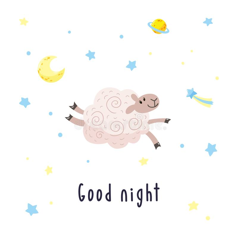 Sky background with cartoon sheep, moon, stars and comet. Vector illustration with cute lamb and inscription Good night vector illustration