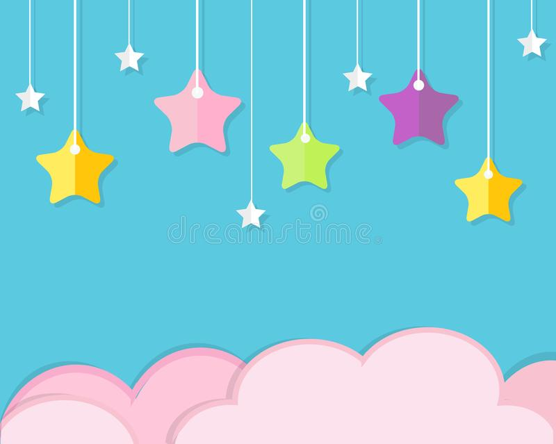 Sky background with pink clouds and colorful hanging stars. Background in paper cut, paper craft style. For baby, kids and nursery royalty free illustration
