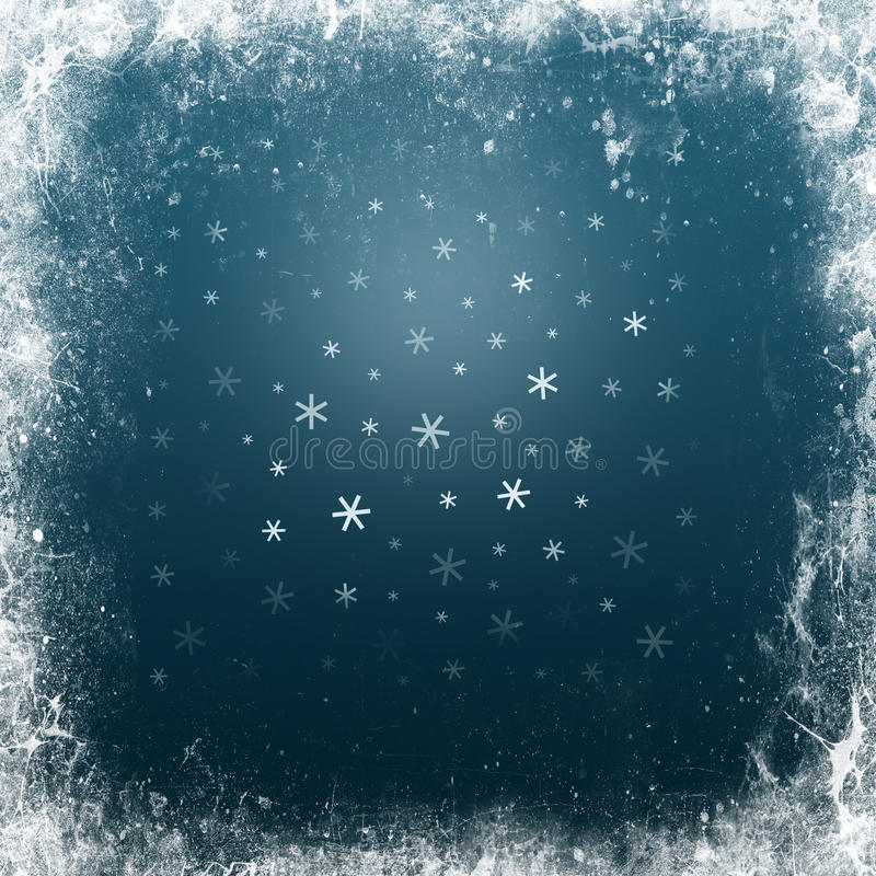 Sky background with snow and frame