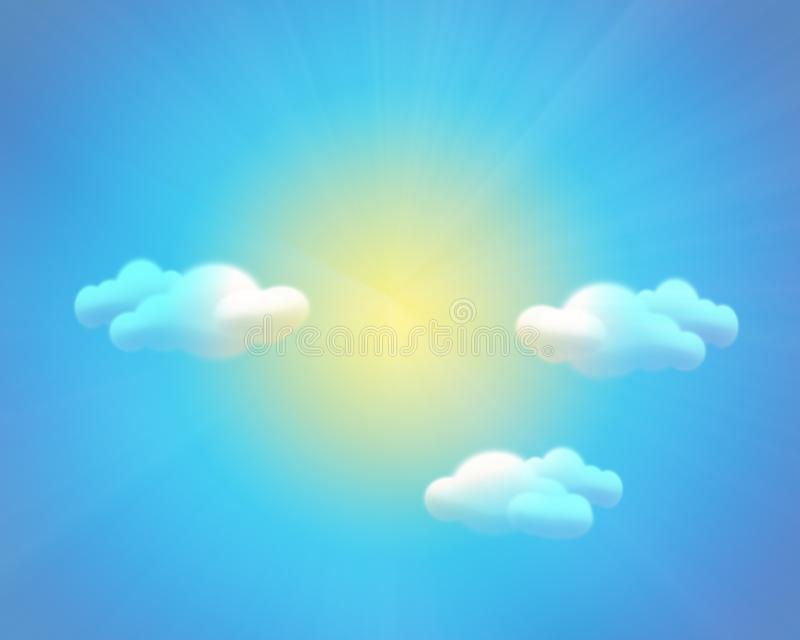 Sky background with sun clouds and rainbow royalty free stock photo