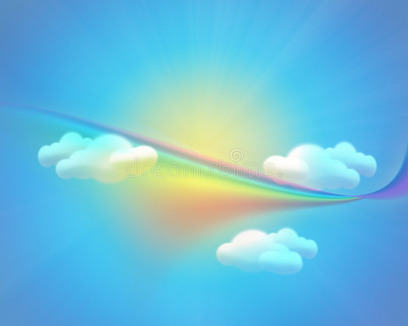 Download Sky Background With Sun Clouds And Rainbow Stock Illustration - Illustration of pease, clouds: 7860961