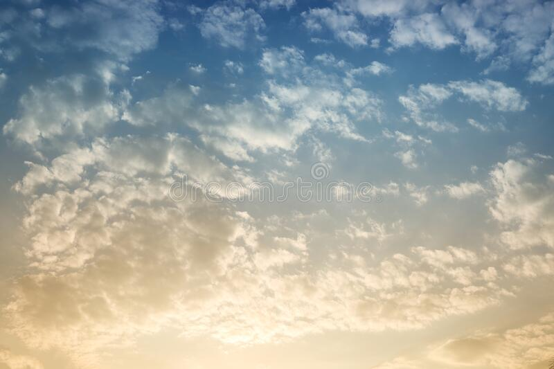 Beautiful Sky background with sunshine. In closeup stock images