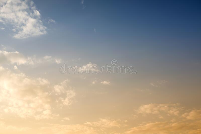 Beautiful Sky background with sunshine. In closeup stock photo