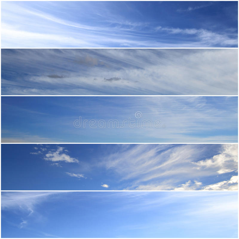 Sky banners. Set of horizontal sky banners royalty free stock photo