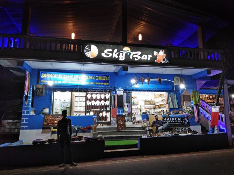 Sky Bar in Ashvem Mandrem Pernem road, North Goa, India. Bar by night in North Goa, India royalty free stock image