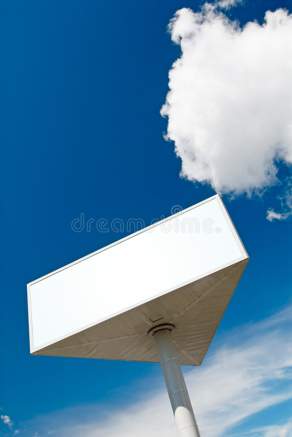 Sky billboard. Huge rotating billboard triangle with copy-space at the fantastic sky royalty free stock photos