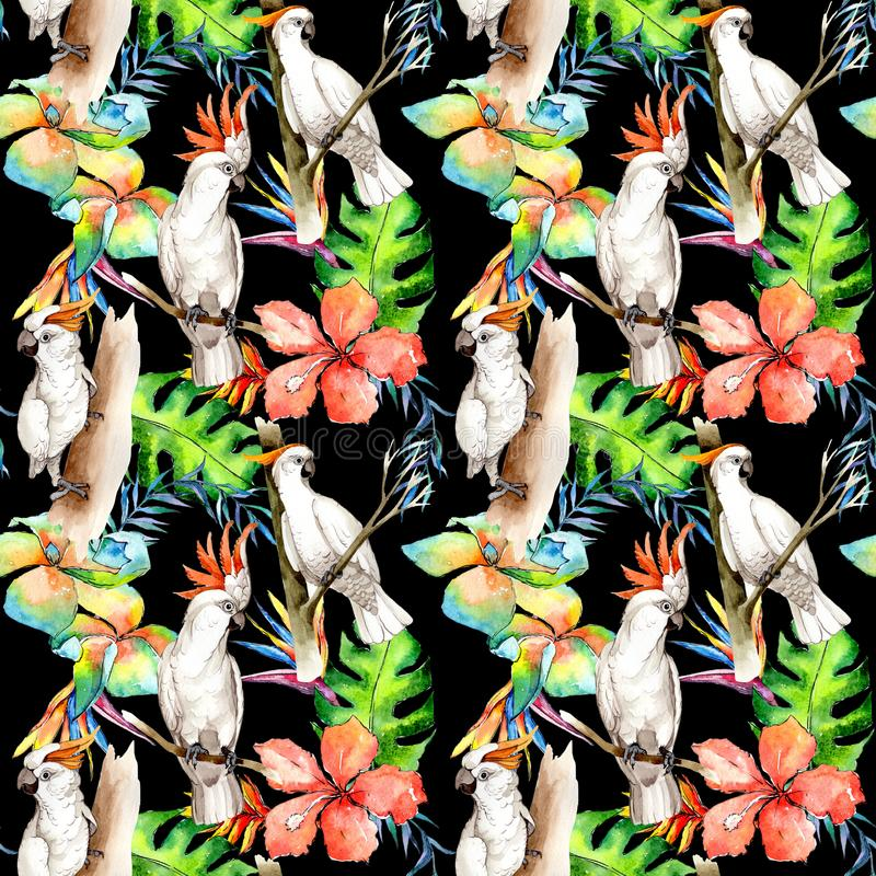 Sky bird white macaw pattern in a wildlife by watercolor style. royalty free illustration