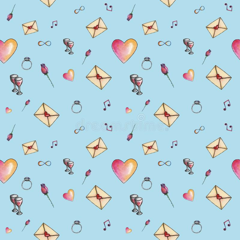 Sky-blue cartoon valentine pattern about love. Cute cartoon valentine pattern with different elements about love including love letters, roses, glasses, notes on stock illustration