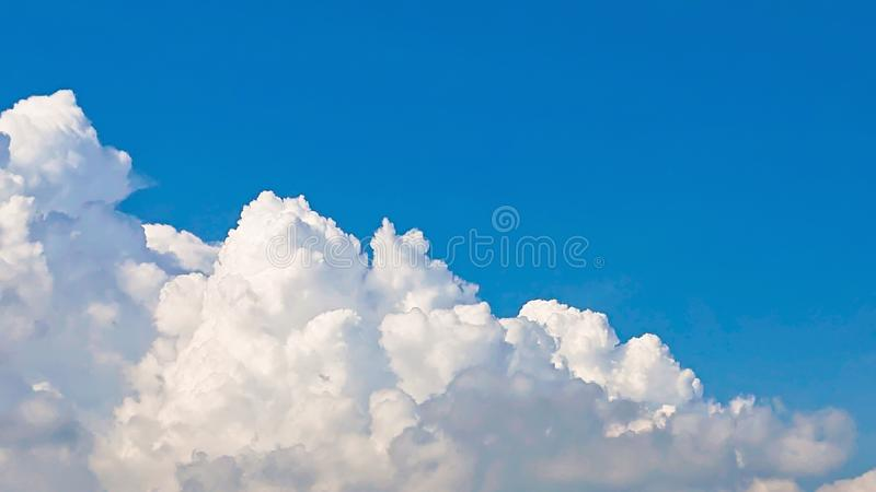sky blue clouds background.Beautiful big clouds and bright blue sky landscape. royalty free stock photos