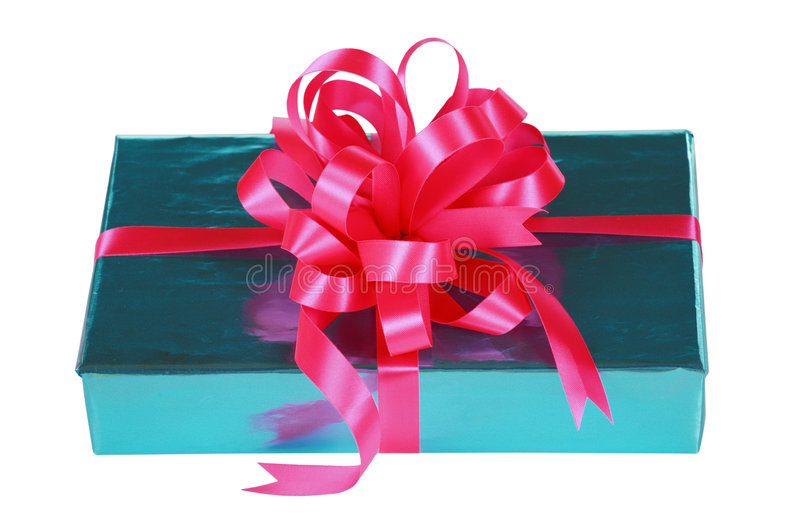 Download Sky Blue Present With Pink Bow Stock Image - Image: 6653139