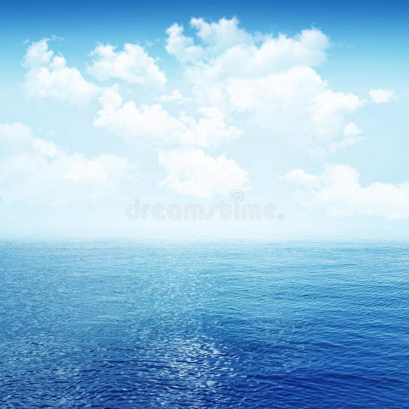 Sky and blue sea. Ocean horizon landscape stock photography