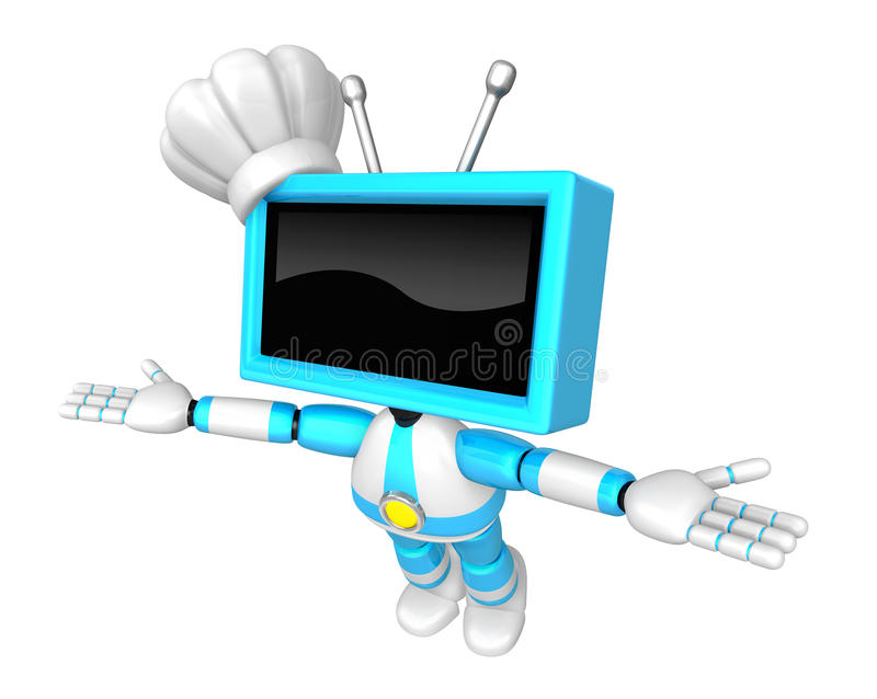 Download Sky Blue TV Robot Flying Towards The Sky. Create 3D Television R Stock Illustration - Image: 33617578