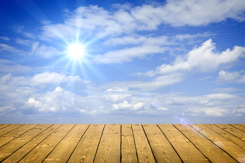 Sky. Blue sky and wood floor background royalty free stock images