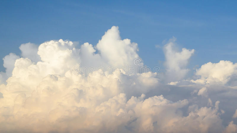 Sky with blue and yellow cloud in morning. royalty free stock images