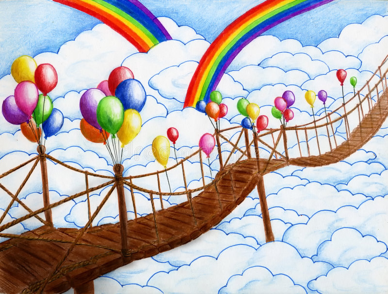 Sky bridge with balloons 2. Sky bridge with balloons. Clouds are around and two rainbows are on the horizon. Pen + crayon drawing stock illustration