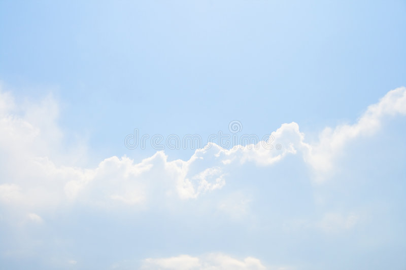Sky with bright light cloud. Bright light cloud on light blue sky stock images