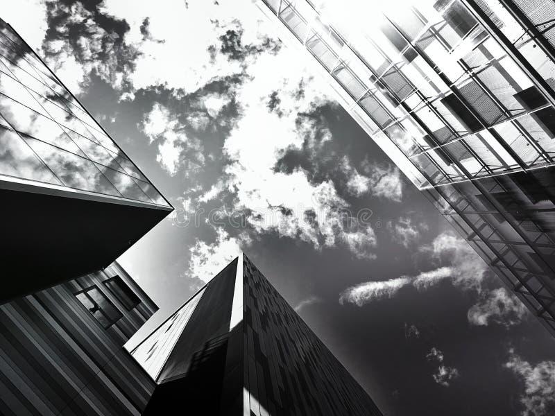 Sky between building tops stock photography