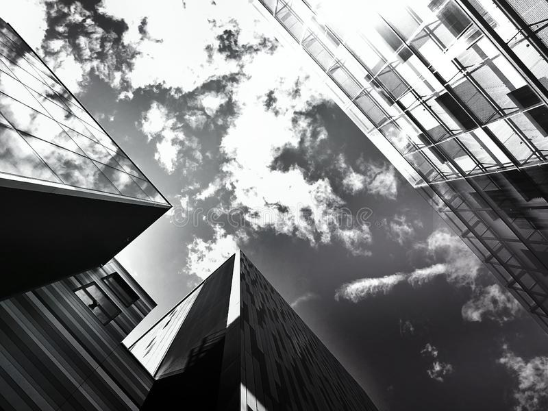 Sky between building tops stock photography