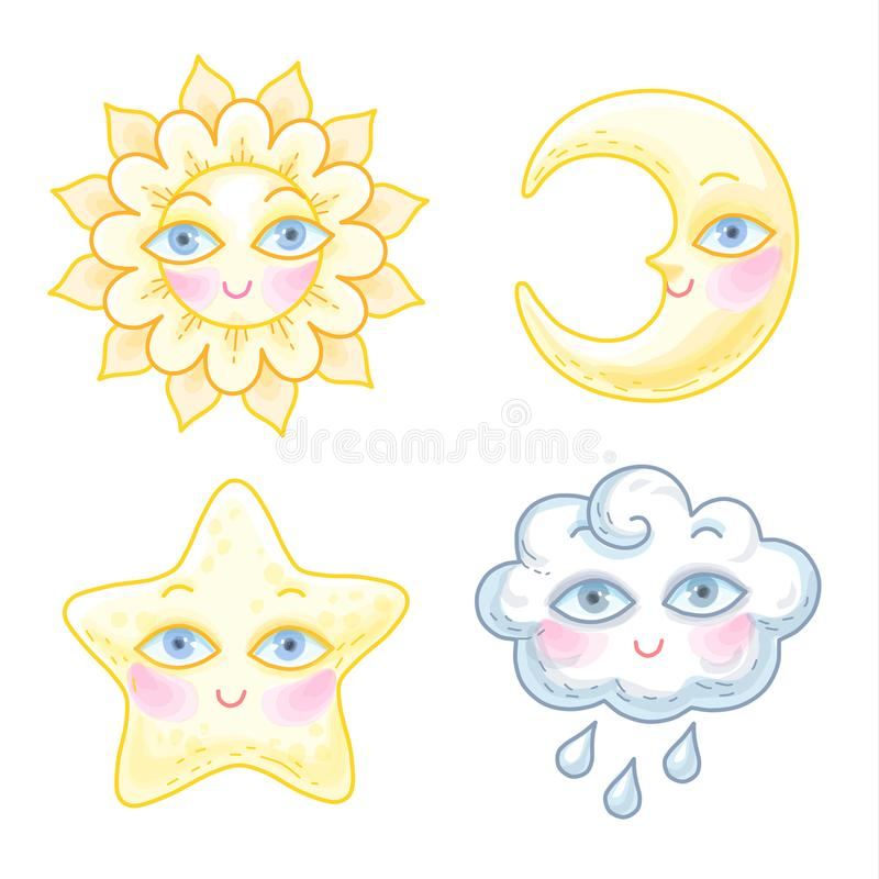 Sky cartoon characters. Set of cute cartoon characters. The sun, moon, star and cloud has a funny faces with eyes. Collection of llustrations isolated on white royalty free illustration