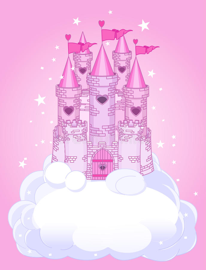 Sky Castle. Illustration of a Fairy Tale princess castle in the sky