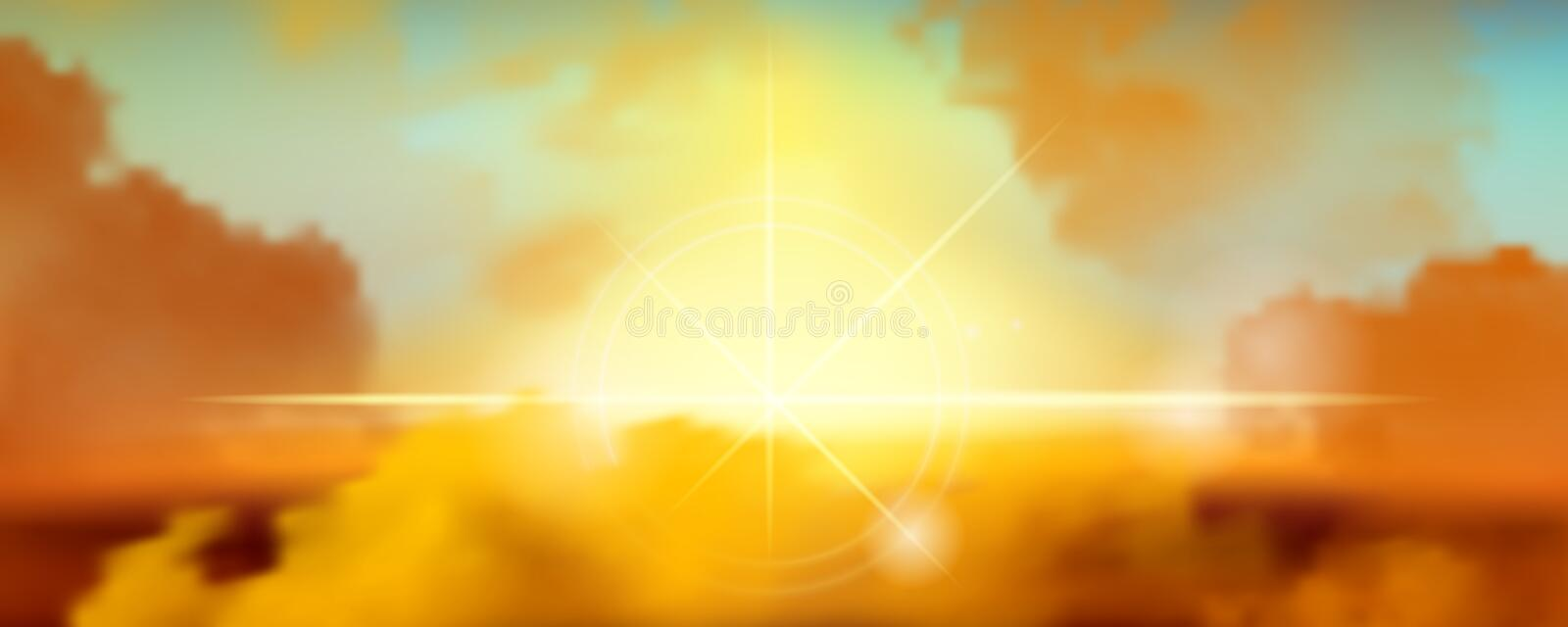 The sky is changing, causing the clouds to have a hot colors tone and the sun shining from the cloudy. royalty free illustration