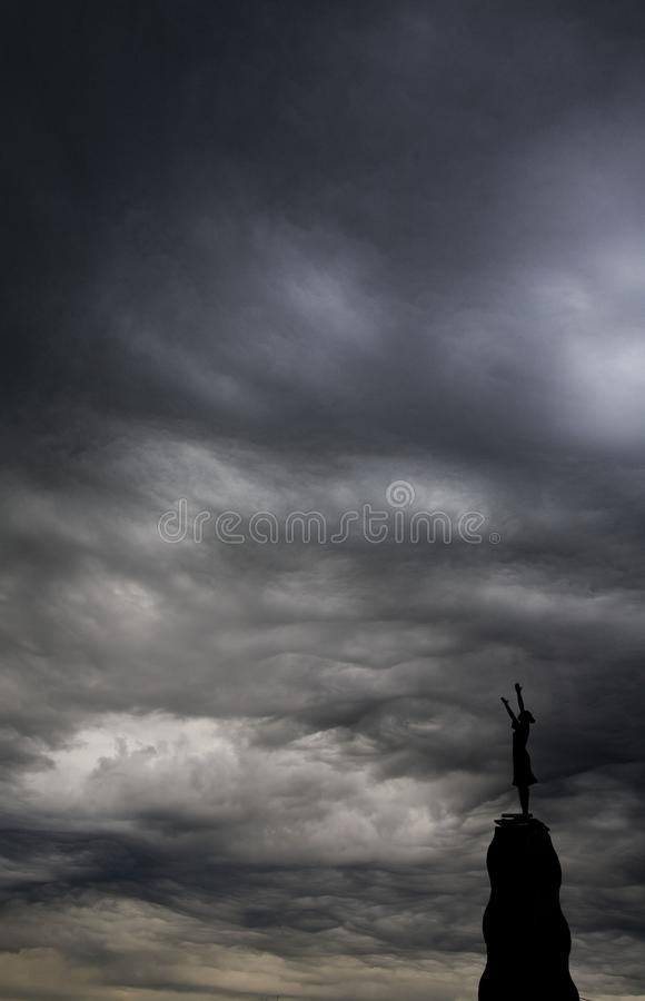 Sky, Cloud, Atmosphere, Black And White stock photo